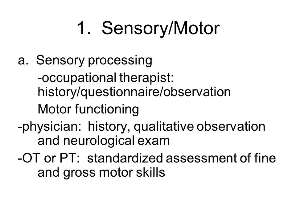 1. Sensory/Motor a. Sensory processing