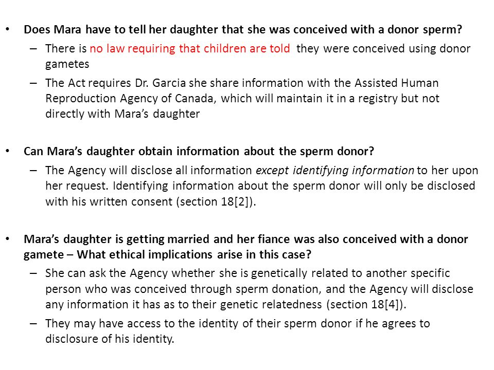 Does Mara have to tell her daughter that she was conceived with a donor sperm