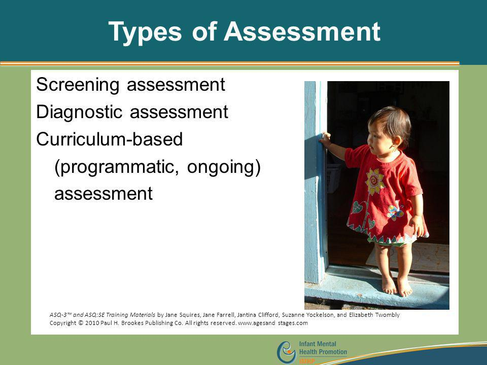 Types of Assessment Screening assessment Diagnostic assessment Curriculum-based (programmatic, ongoing) assessment