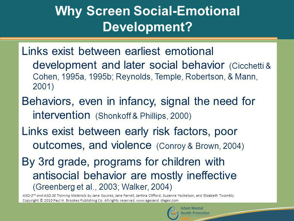 Why Screen Social-Emotional Development
