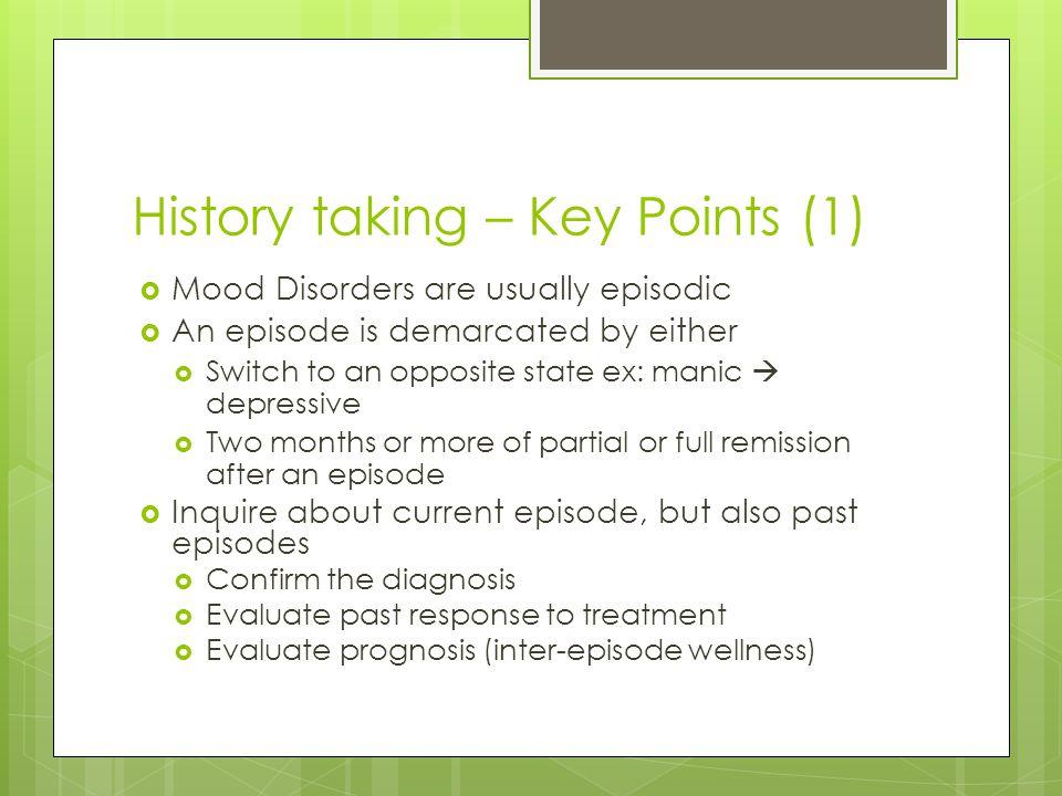 History taking – Key Points (1)