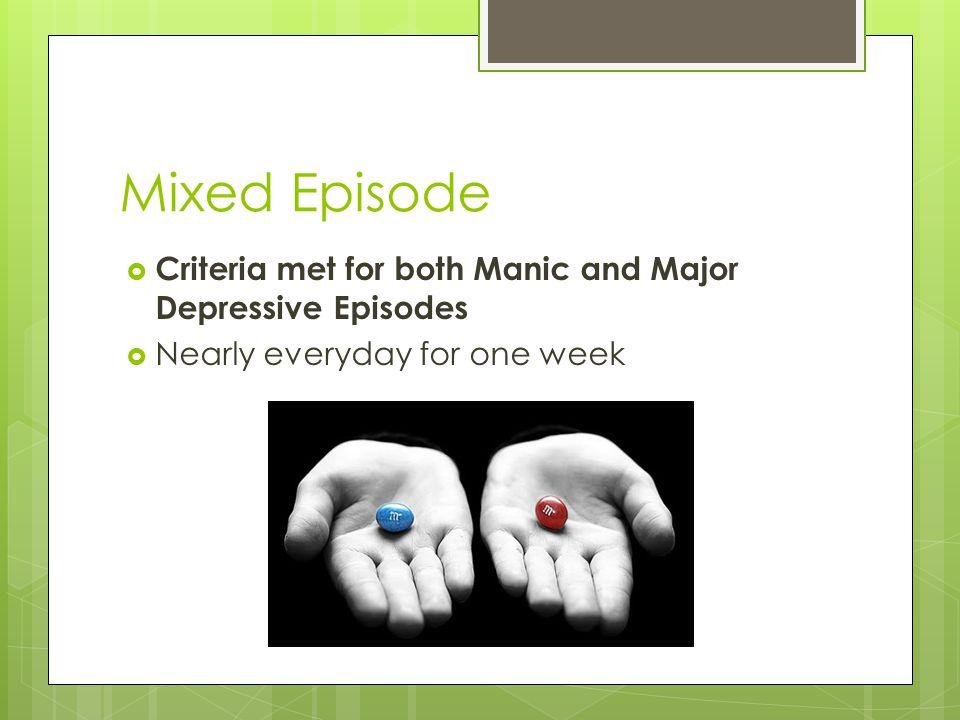 Mixed Episode Criteria met for both Manic and Major Depressive Episodes.