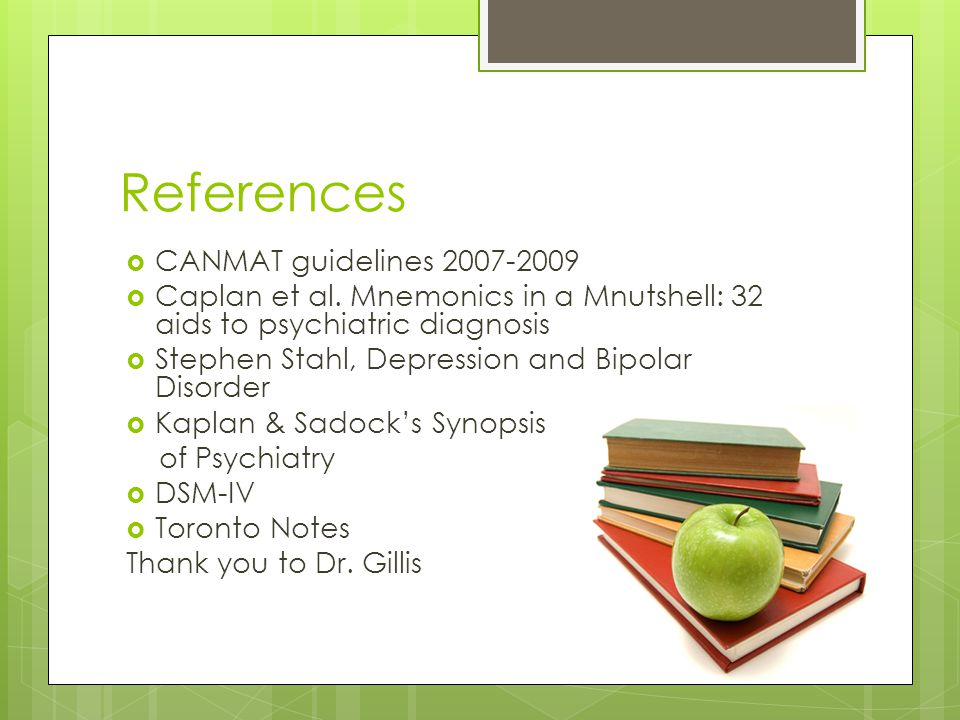 References CANMAT guidelines 2007-2009
