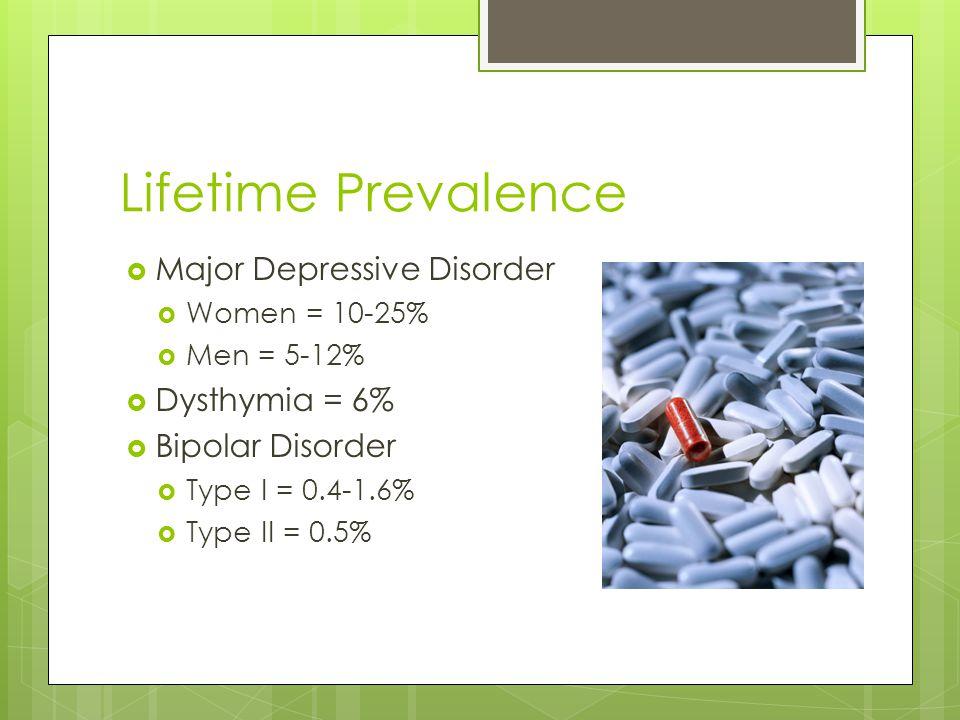 Lifetime Prevalence Major Depressive Disorder Dysthymia = 6%