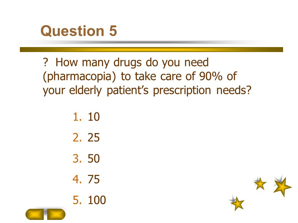 Question 5 How many drugs do you need (pharmacopia) to take care of 90% of your elderly patient's prescription needs