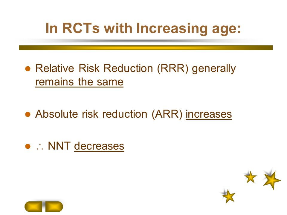 In RCTs with Increasing age: