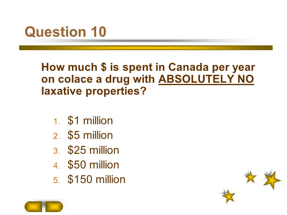 Question 10 How much $ is spent in Canada per year on colace a drug with ABSOLUTELY NO laxative properties