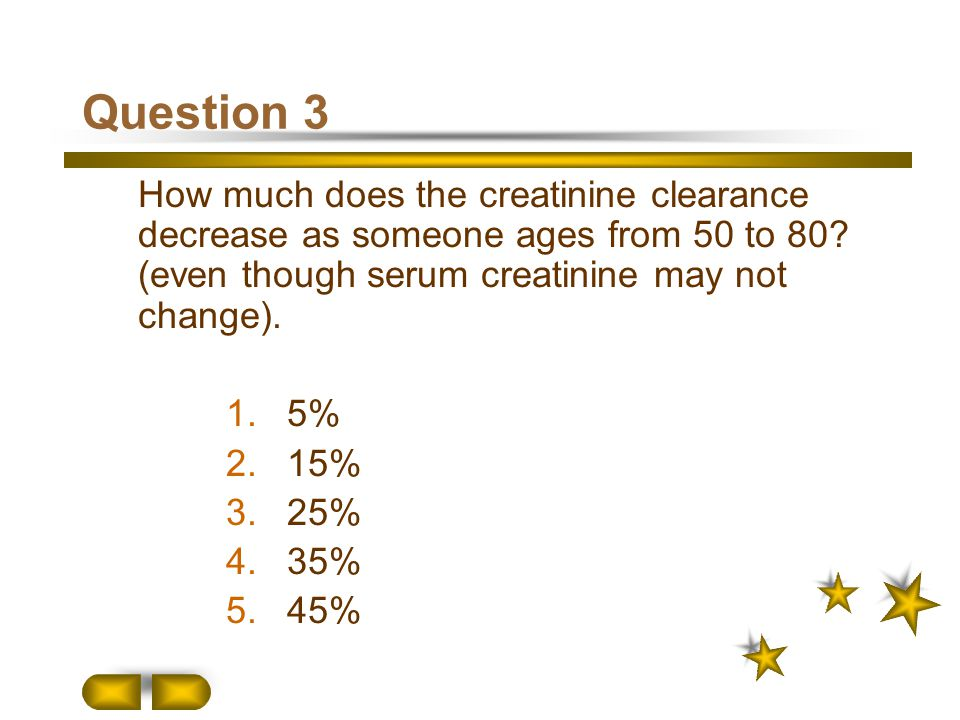 Question 3 How much does the creatinine clearance decrease as someone ages from 50 to 80 (even though serum creatinine may not change).