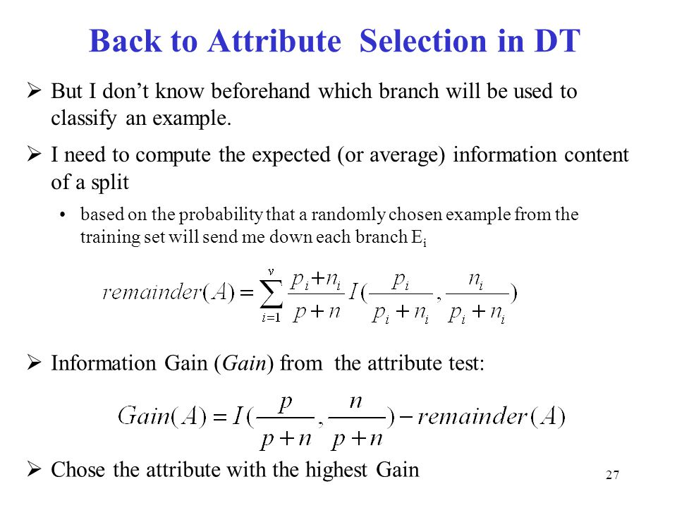 Back to Attribute Selection in DT