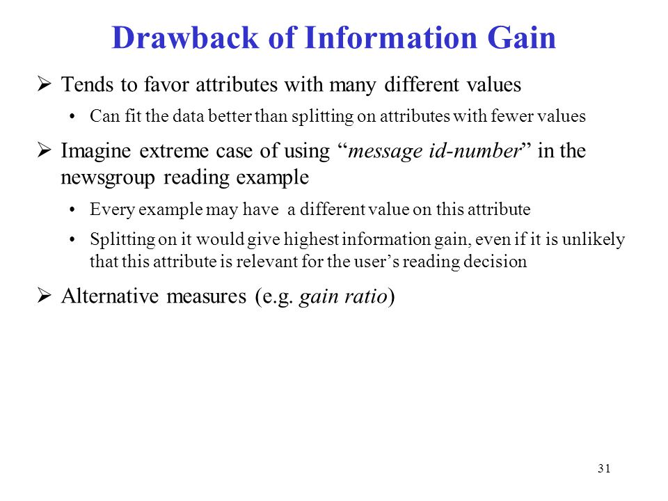 Drawback of Information Gain