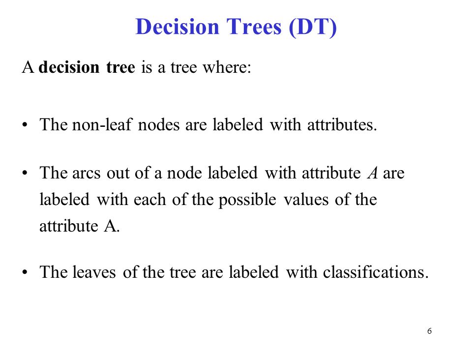 Decision Trees (DT) A decision tree is a tree where: