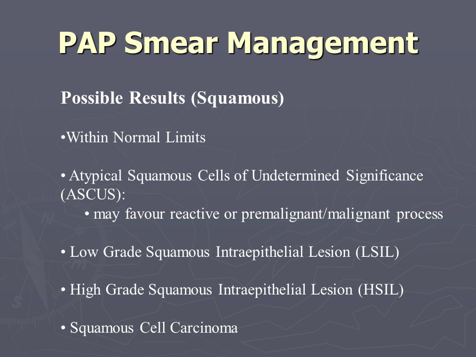 PAP Smear Management Possible Results (Squamous) Within Normal Limits