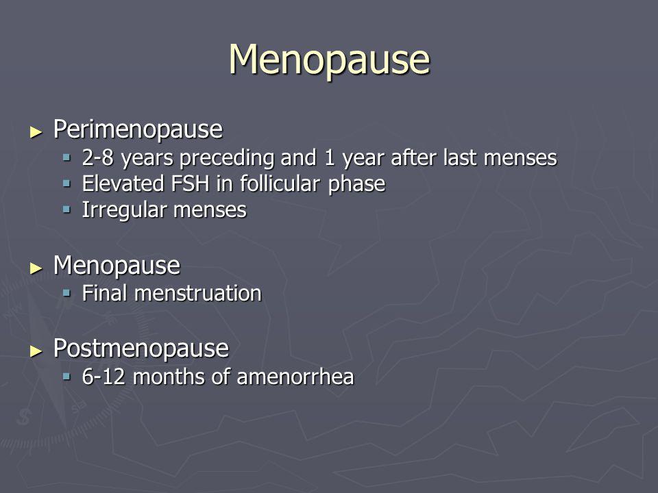 Menopause Perimenopause Menopause Postmenopause