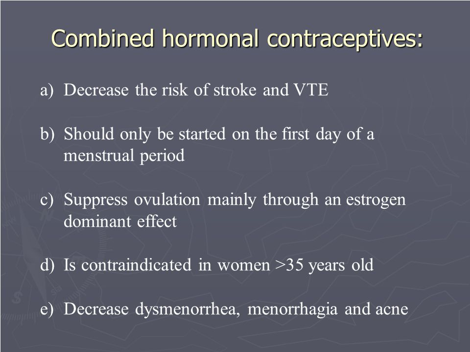 Combined hormonal contraceptives: