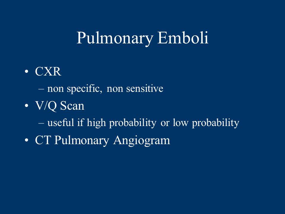 Pulmonary Emboli CXR V/Q Scan CT Pulmonary Angiogram