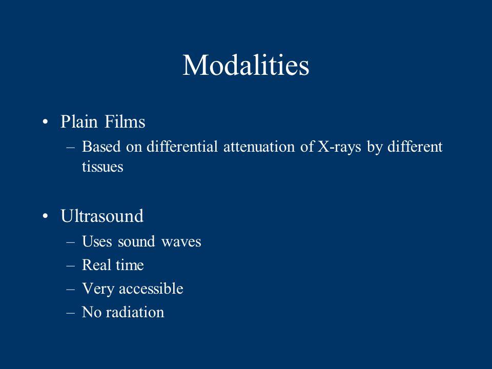 Modalities Plain Films Ultrasound