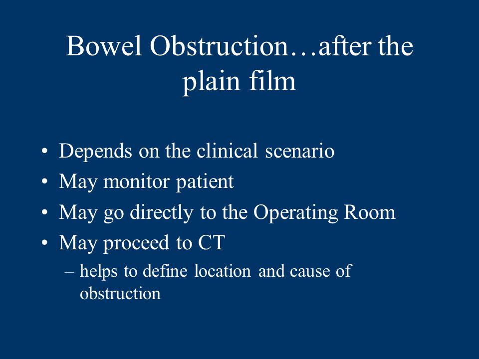 Bowel Obstruction…after the plain film