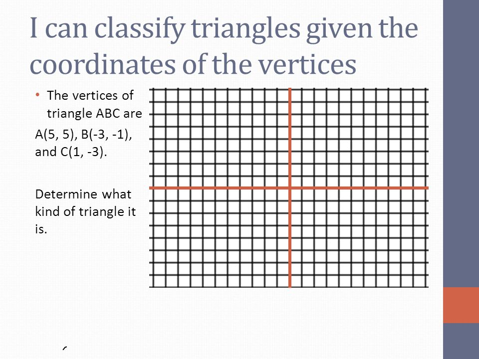 I can classify triangles given the coordinates of the vertices