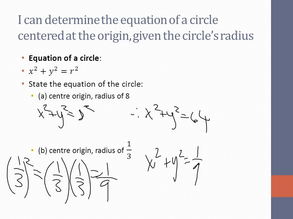 I can determine the equation of a circle centered at the origin, given the circle's radius