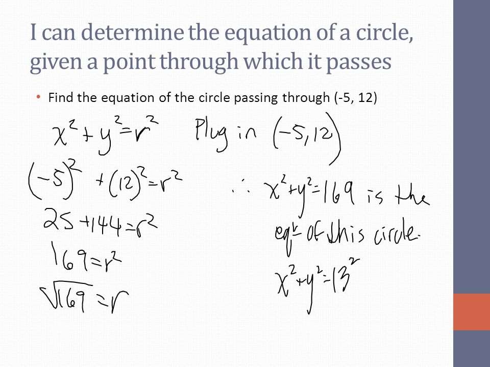 I can determine the equation of a circle, given a point through which it passes