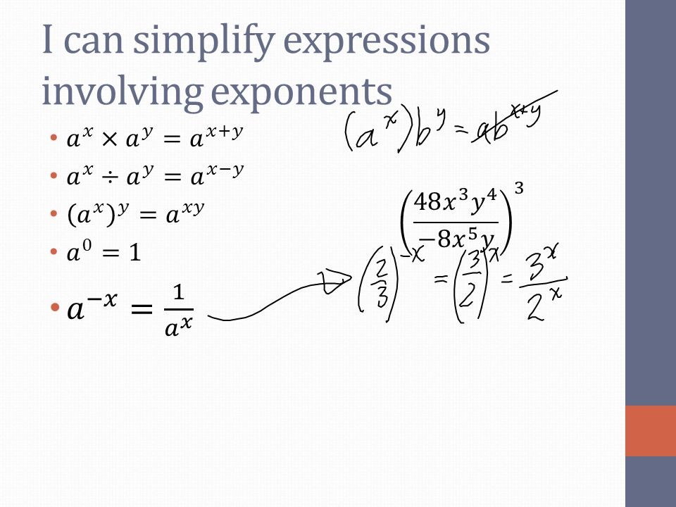 I can simplify expressions involving exponents