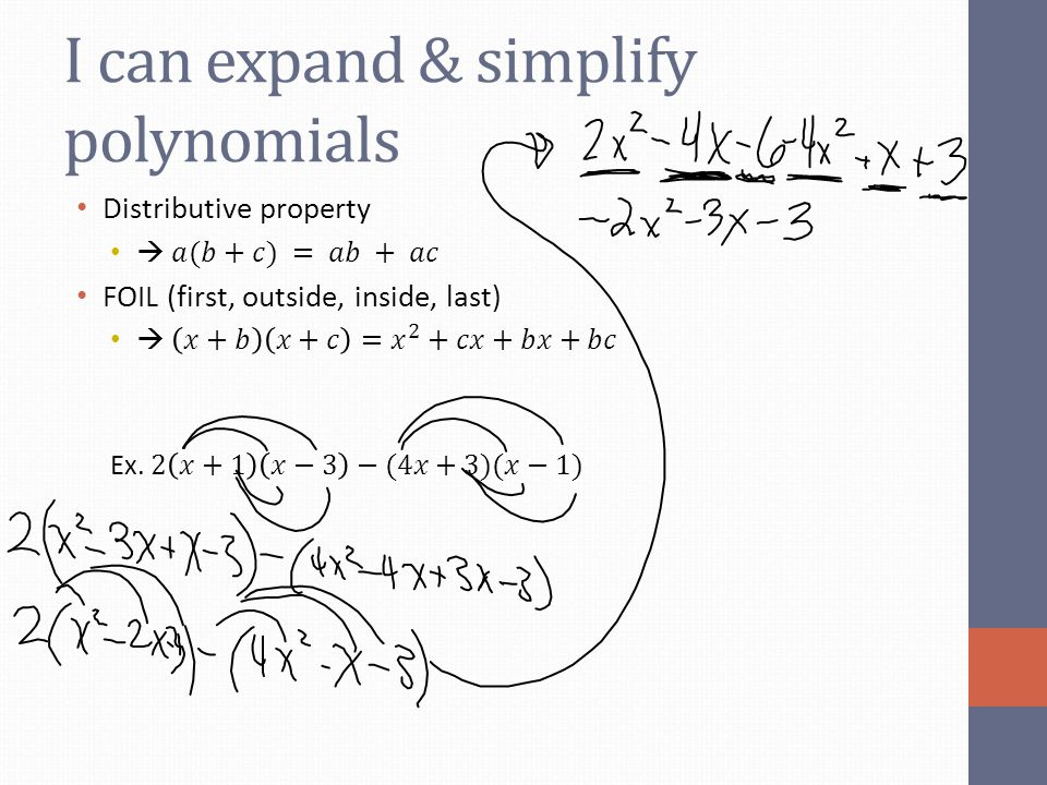I can expand & simplify polynomials
