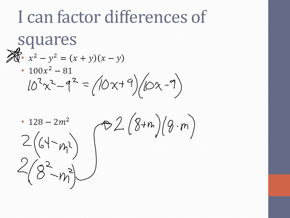 I can factor differences of squares