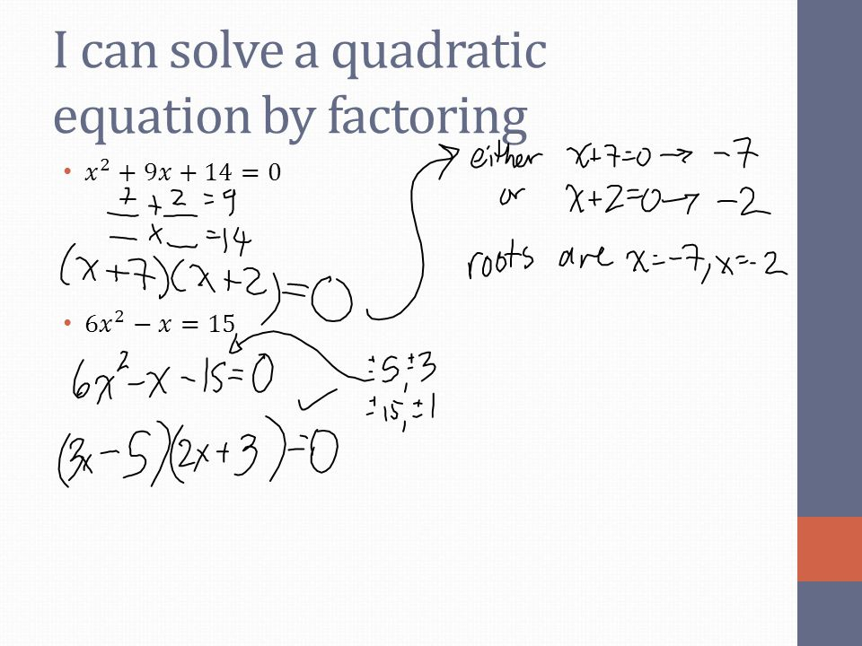 I can solve a quadratic equation by factoring