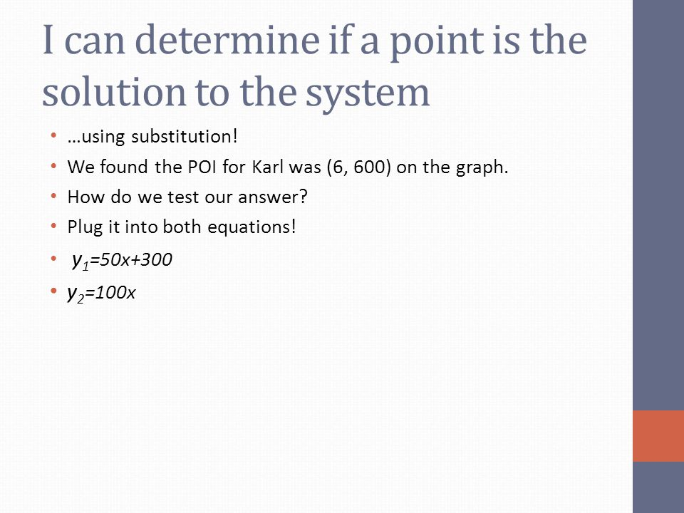 I can determine if a point is the solution to the system