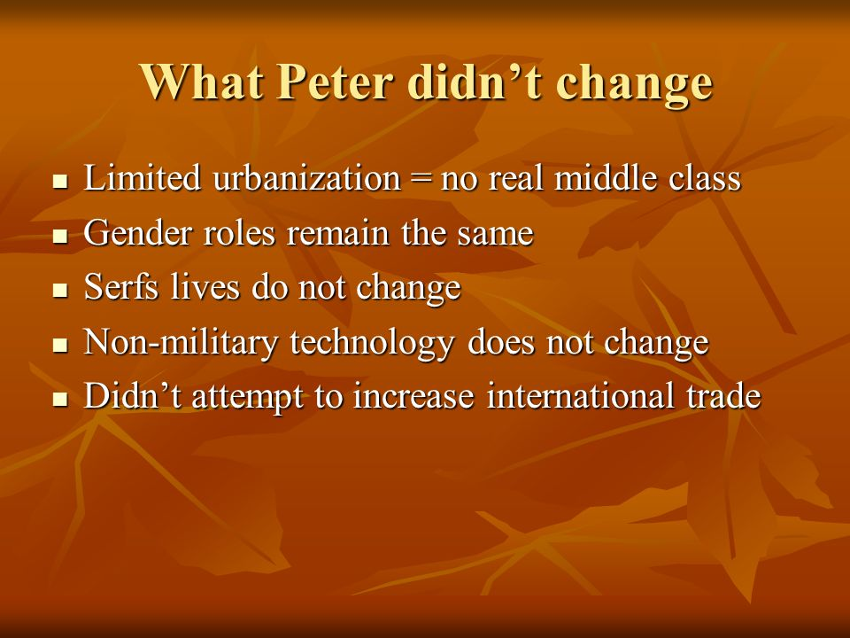 What Peter didn't change