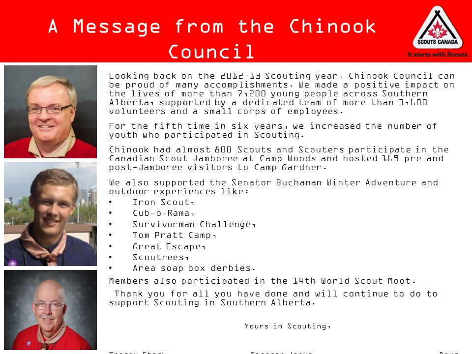 A Message from the Chinook Council
