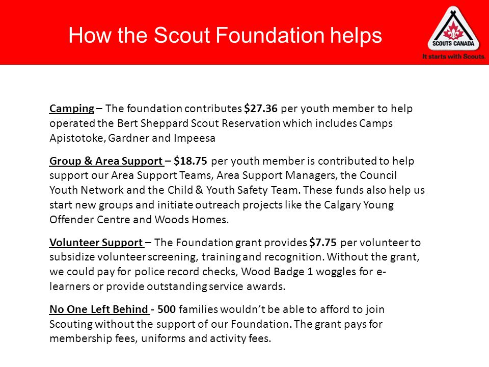 How the Scout Foundation helps
