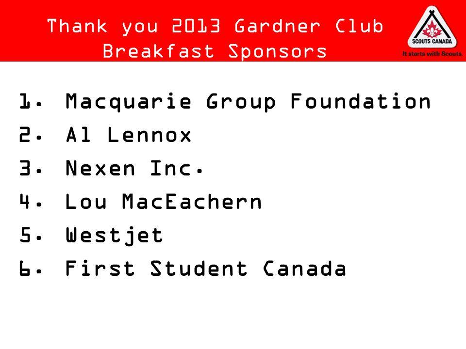Thank you 2013 Gardner Club Breakfast Sponsors