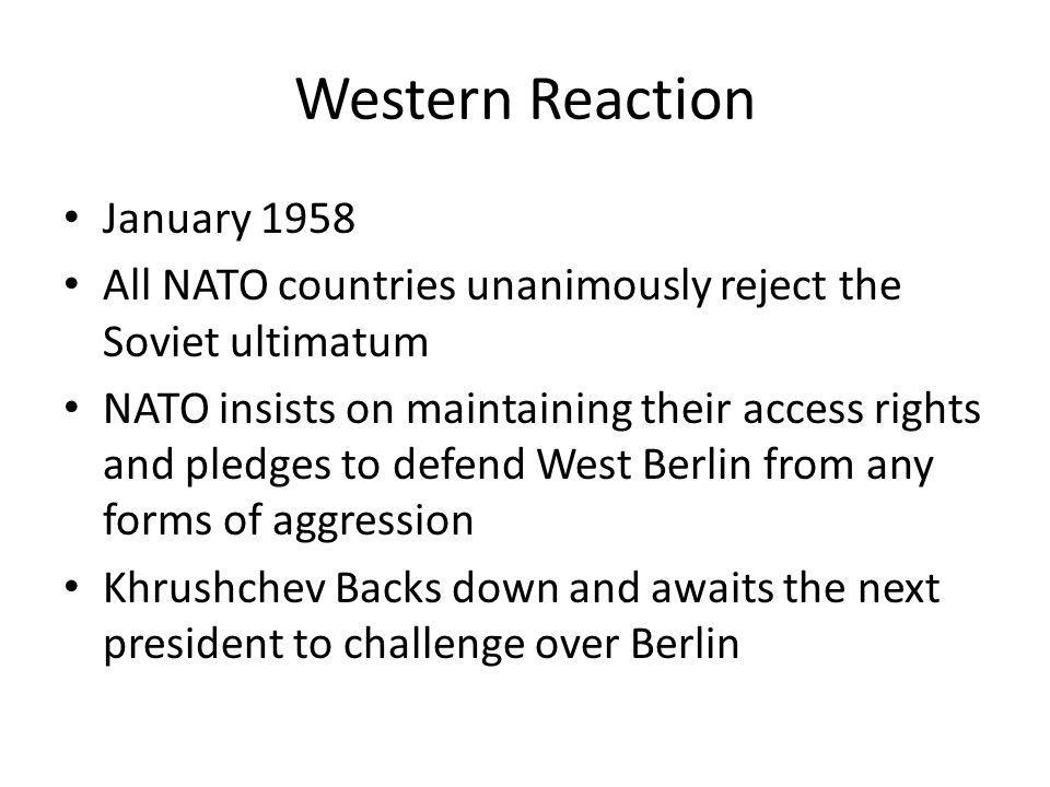Western Reaction January 1958