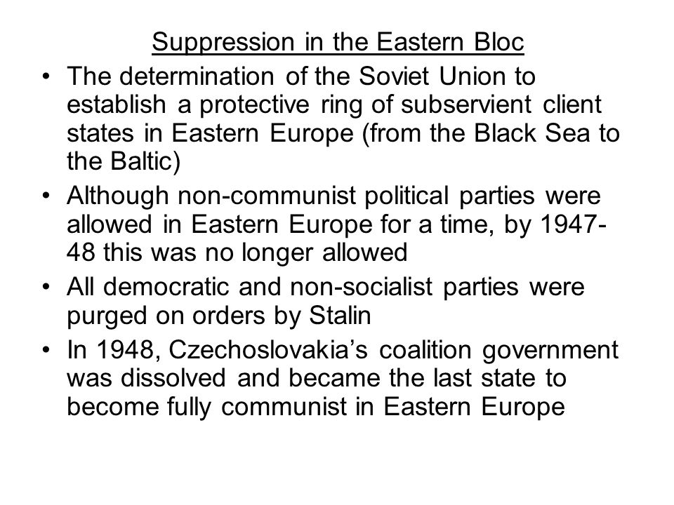 Suppression in the Eastern Bloc