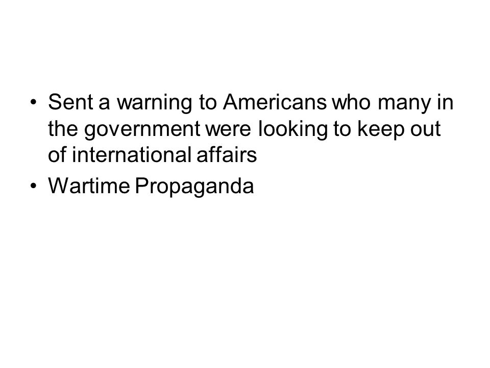 Sent a warning to Americans who many in the government were looking to keep out of international affairs