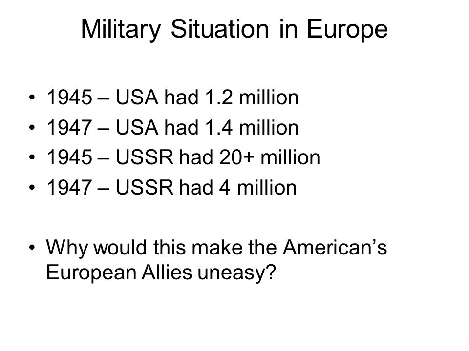 Military Situation in Europe