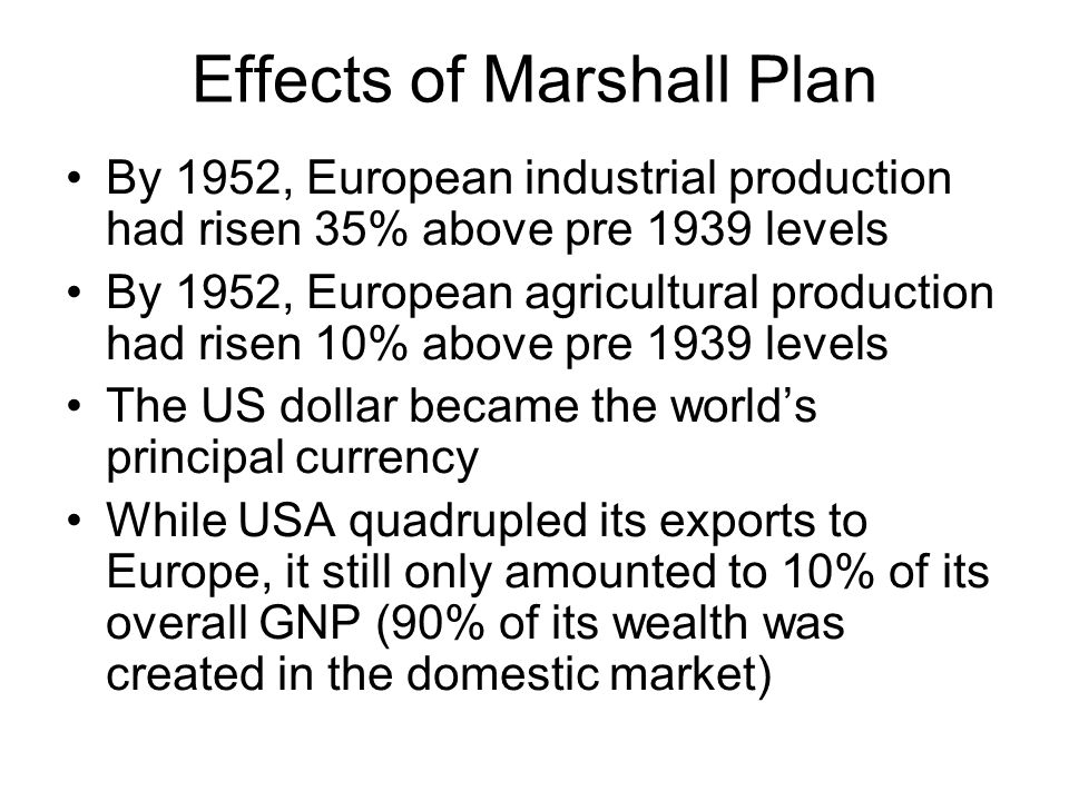 Effects of Marshall Plan