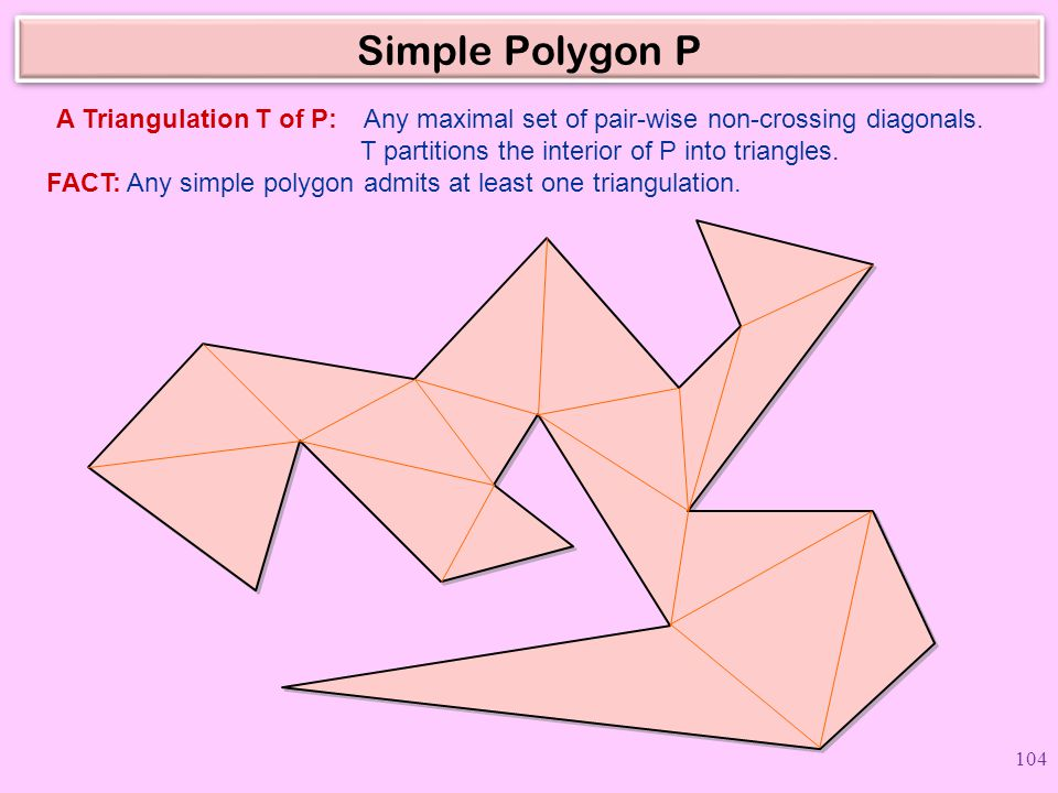 Simple Polygon P Any maximal set of pair-wise non-crossing diagonals.