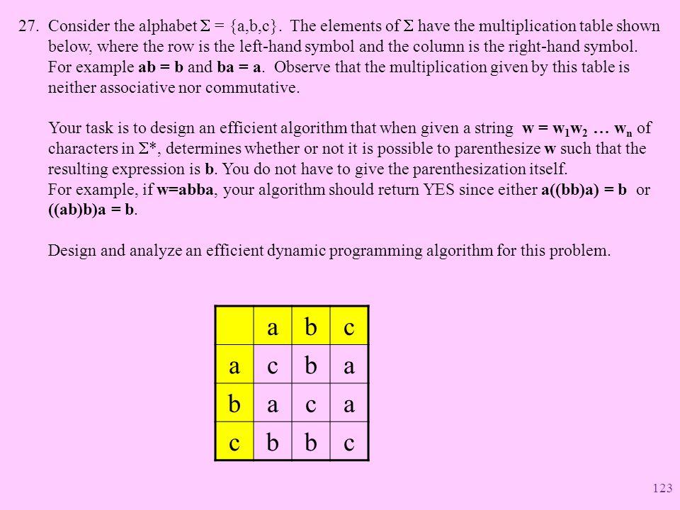 Consider the alphabet S = {a,b,c}