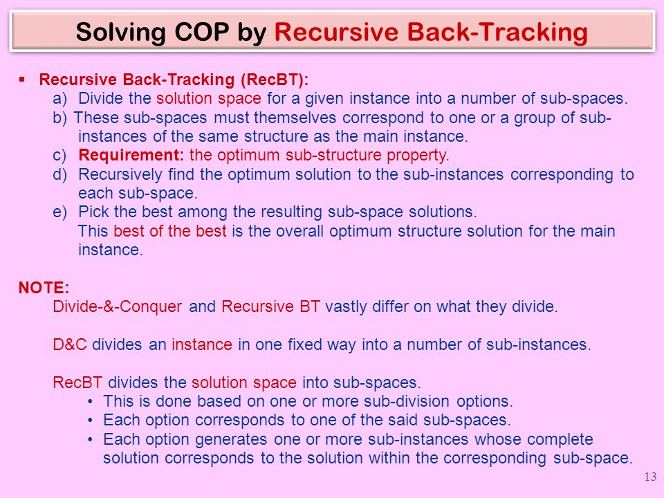 Solving COP by Recursive Back-Tracking