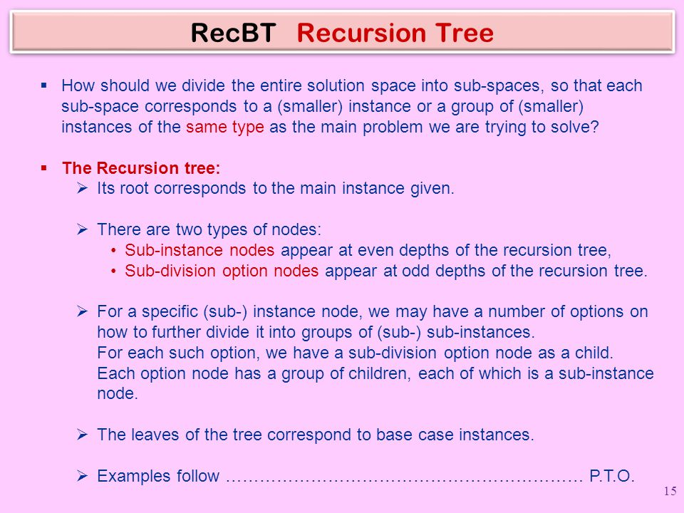 RecBT Recursion Tree