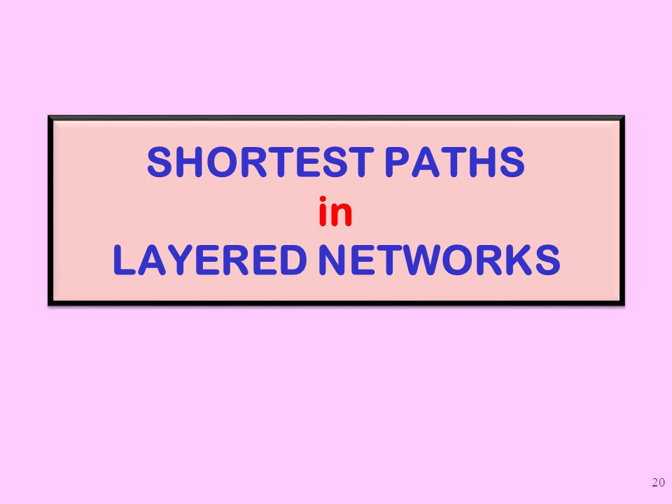 SHORTEST PATHS in LAYERED NETWORKS