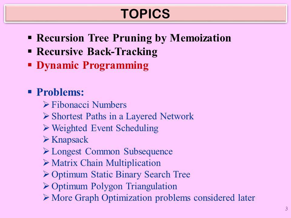 TOPICS Recursion Tree Pruning by Memoization Recursive Back-Tracking