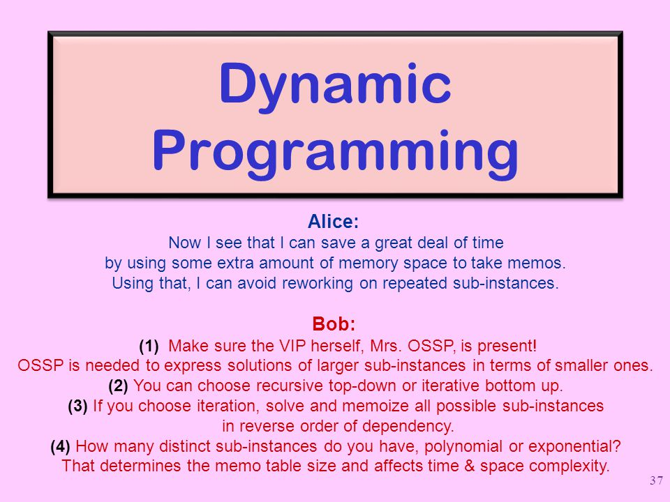 Dynamic Programming Alice: Now I see that I can save a great deal of time. by using some extra amount of memory space to take memos.