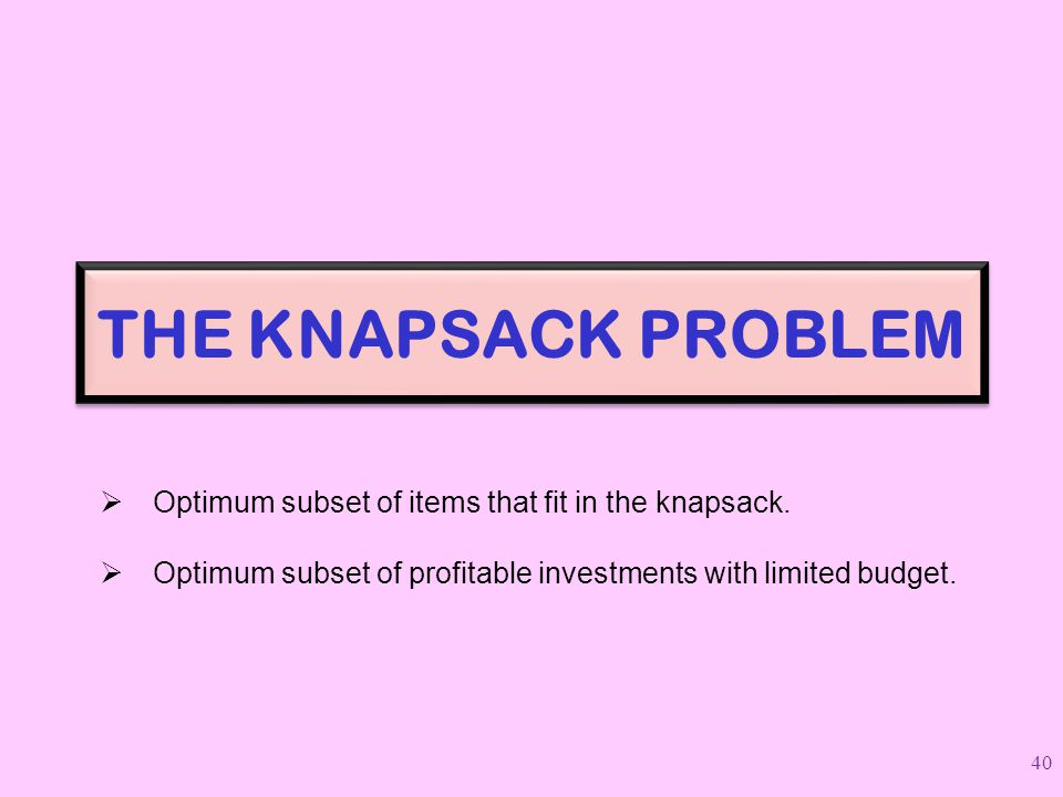 THE KNAPSACK PROBLEM Optimum subset of items that fit in the knapsack.