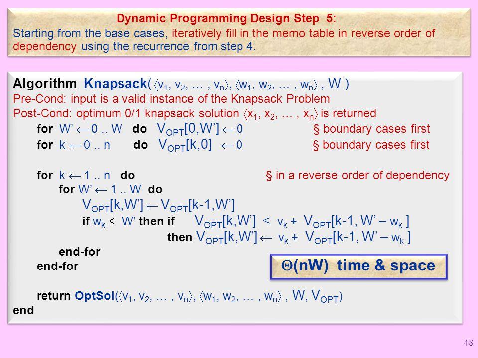Dynamic Programming Design Step 5: