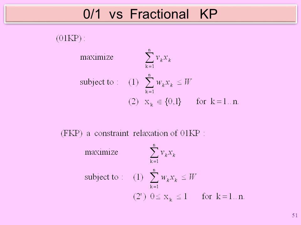 0/1 vs Fractional KP