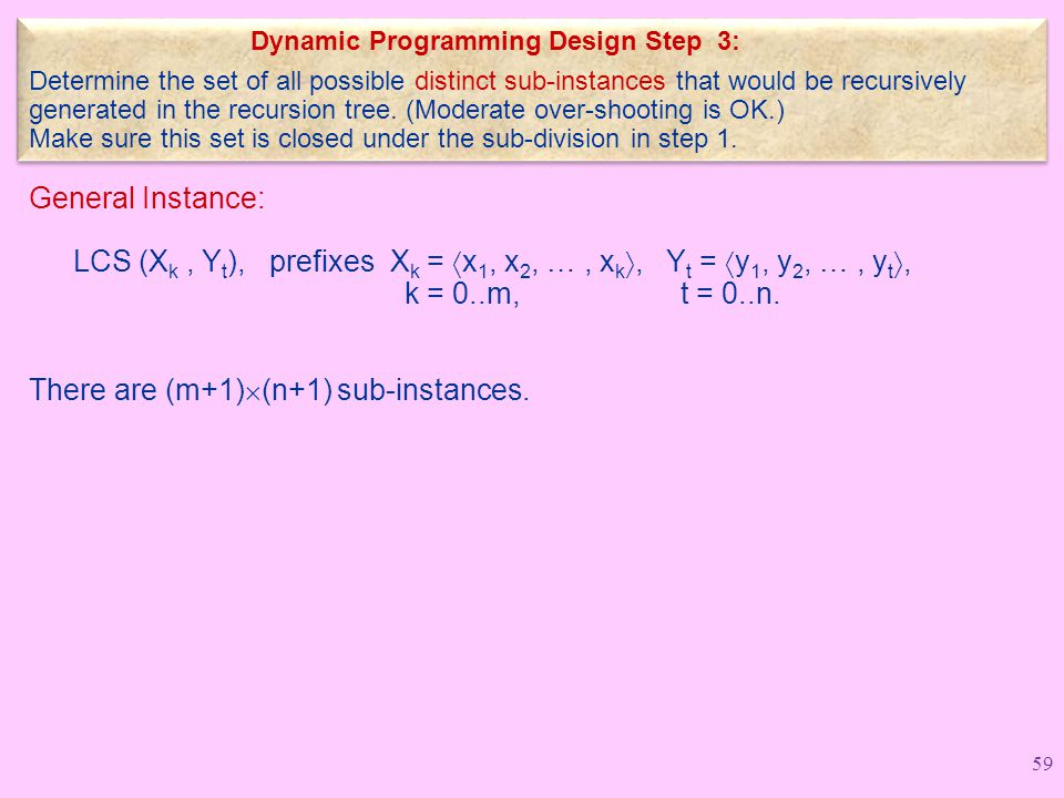 Dynamic Programming Design Step 3: