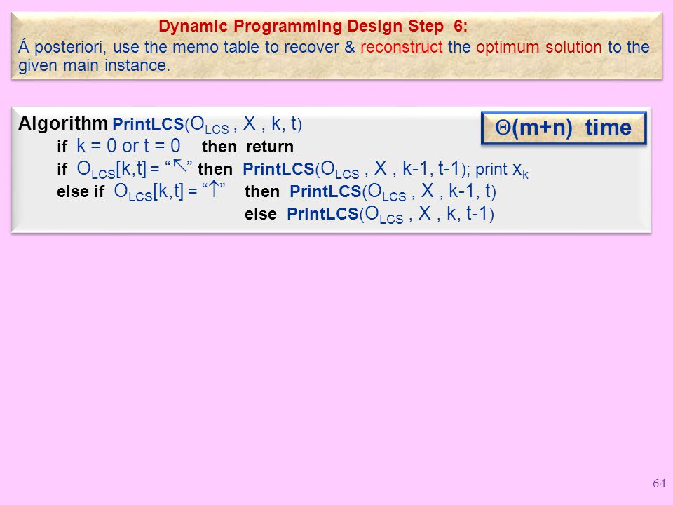 Dynamic Programming Design Step 6: